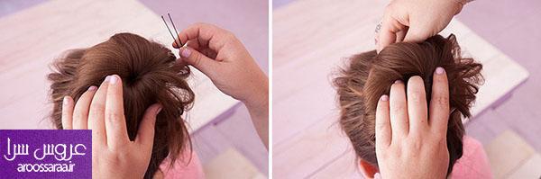آموزش مدل شنیون موی گوجه ای با جورای