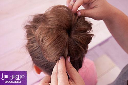 آموزش شنیون موی گوجه ای با جوراب